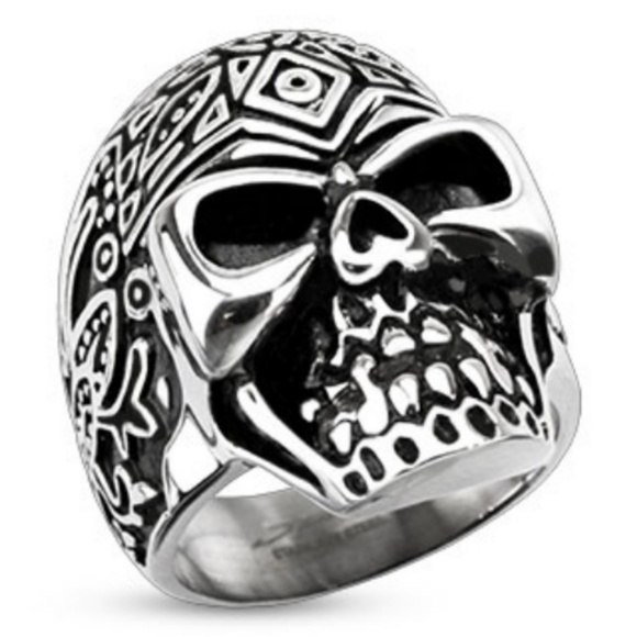 spikes Other - Stainless steel skull ring